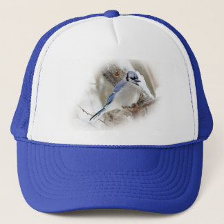 Blue Jay in Winter Snow Trucker Hat