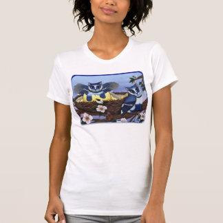 Blue Jay Kittens, Bird Cats Fantasy Art Shirt