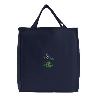 Blue Jay Monogram Embroidered Tote