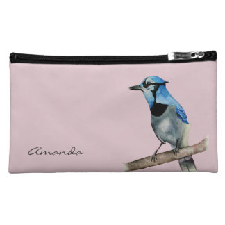 Blue Jay on Branch Watercolor Painting Cosmetic Bag