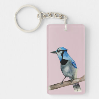 Blue Jay on Branch Watercolor Painting Key Ring