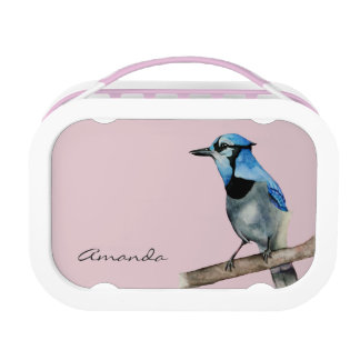Blue Jay on Branch Watercolor Painting Lunch Boxes