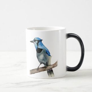 Blue Jay on Branch Watercolor Painting Magic Mug