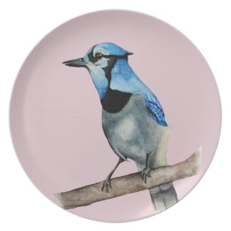 Blue Jay on Branch Watercolor Painting Plate