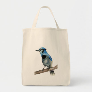 Blue Jay on Branch Watercolor Painting Tote Bag