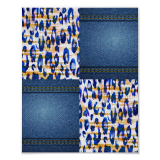 Blue Jean Animal Pattern Print Design