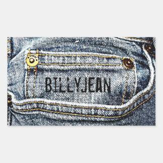 Blue Jean Denim Pocket - Personalize it! Rectangular Sticker