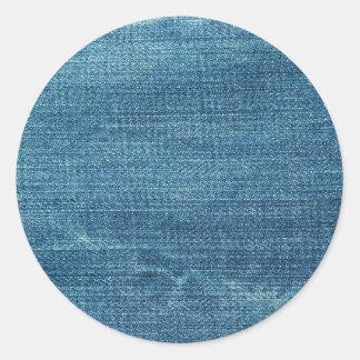 Blue jeans background round sticker