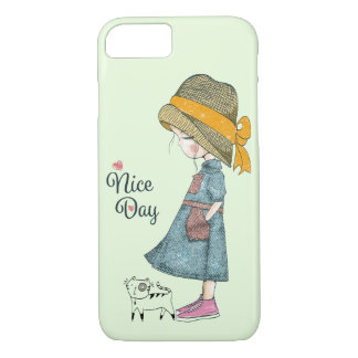 Blue Jeans Dress Pink Shoes Girl and her Cat iPhone 8/7 Case