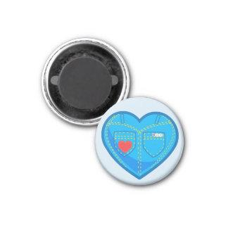 Blue Jeans Heart Design Round Magnet