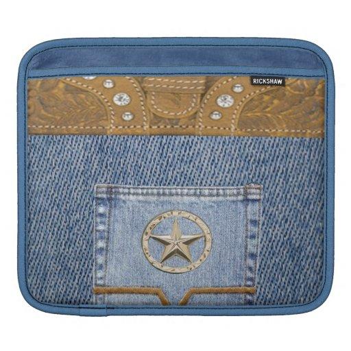 """Blue Jeans & Leather"" Western IPad  Sleeve Sleeve For iPads"