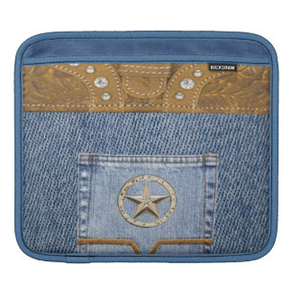 """Blue Jeans & Leather"" Western IPad  Sleeve Sleeves For iPads"