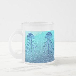 BLUE JELLYFISH 124 MOSAIC OCEAN FROSTED GLASS COFFEE MUG