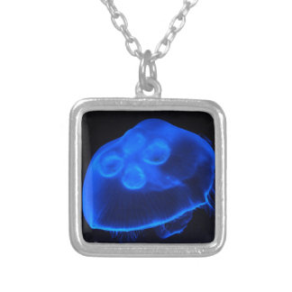 Blue Jellyfish Silver Plated Necklace