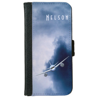 Blue Jet Plane in Sky Pilot iPhone 6 Wallet Cases