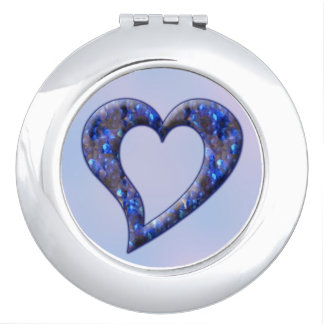 Blue Jewel Heart Compact Travel Mirror