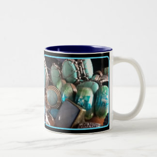 BLUE JEWELS PRINT Two-Tone COFFEE MUG