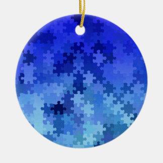 Blue jigsaw puzzle pattern ceramic ornament