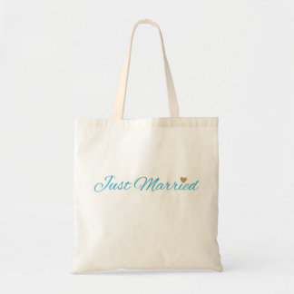 Blue Just Married Gold Sparkle Heart Budget Tote Bag