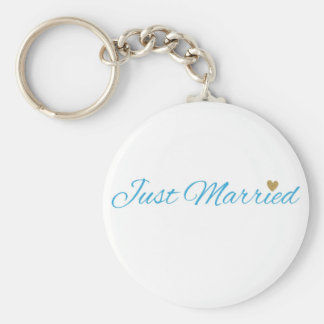 Blue Just Married Gold Sparkle Heart Basic Round Button Keychain