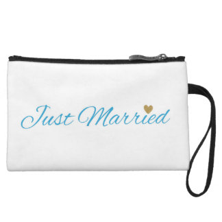 Blue Just Married Gold Sparkle Heart Wristlet Purse