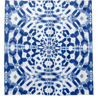 Blue Kaleidoscope Design on Shower Curtain