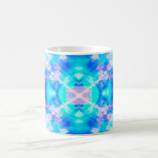 Blue kaleidoscope pattern coffee mug