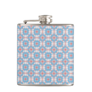 Blue Kaleidoscope Pattern Hip Flask