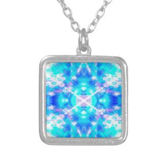 Blue kaleidoscope pattern silver plated necklace