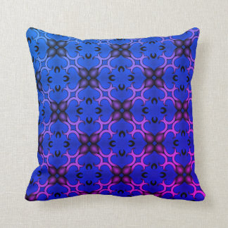 Blue kaleidoscope pattern throw pillow