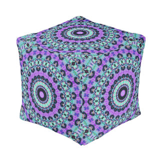 Blue Kaleidoscope Pouf
