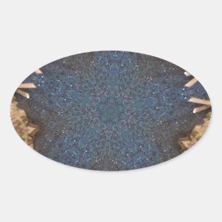 Blue Kaleidoscope Star Background Oval Sticker
