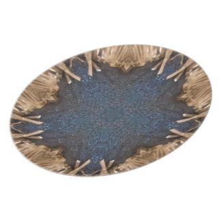 Blue Kaleidoscope Star Wicker Background Dinner Plate