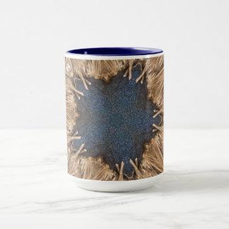 Blue Kaleidoscope Star Wicker Background Mug