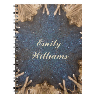 Blue Kaleidoscope Star Wicker Background Notebook