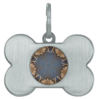 Blue Kaleidoscope Star Wicker Background Pet Name Tag