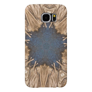 Blue Kaleidoscope Star Wicker Background Samsung Galaxy S6 Cases