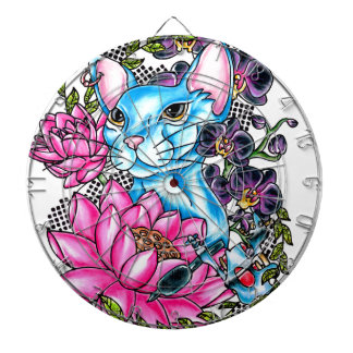 blue kat tattoo dartboard