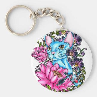 blue kat tattoo key ring