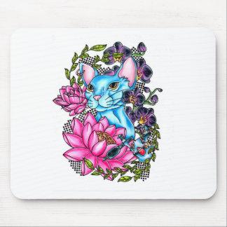 blue kat tattoo mouse pad