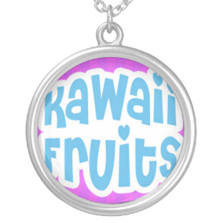 Blue Kawaii Fruits Text on Purple Starburst Round Pendant Necklace