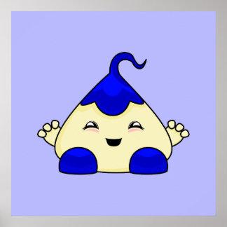 Blue Kawaii Tickle Monster Print