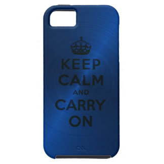 Blue Keep Calm And Carry On Case For The iPhone 5