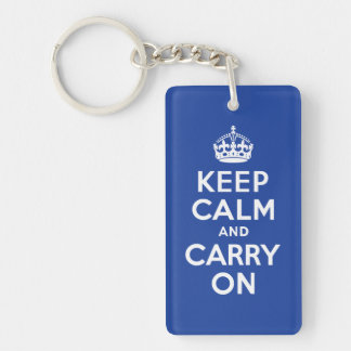 Blue Keep Calm and Carry On Key Chain