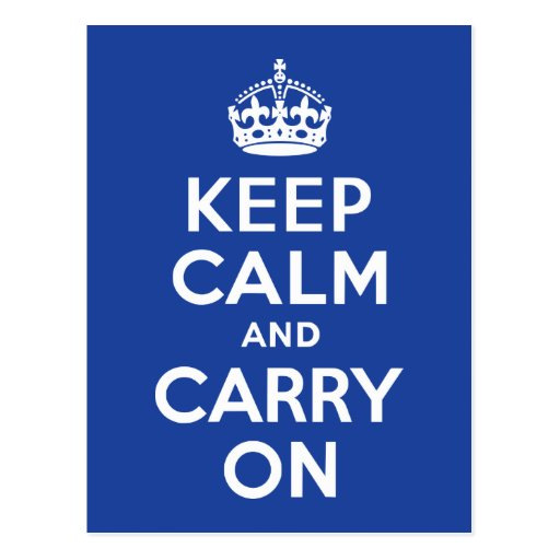 Blue Keep Calm and Carry On Postcards