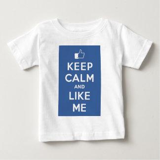 Blue Keep Calm And Like Me Baby T-Shirt