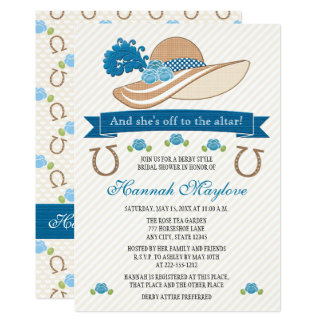 Blue Kentucky Derby Themed Hat Bridal Shower Card