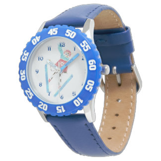 Blue kid watch with a ski jumping cow