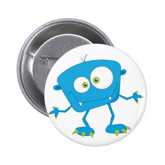 Blue Kids Monster Alien Pinback Button