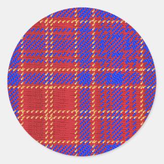 Blue Kilt Tartan Classic Round Sticker